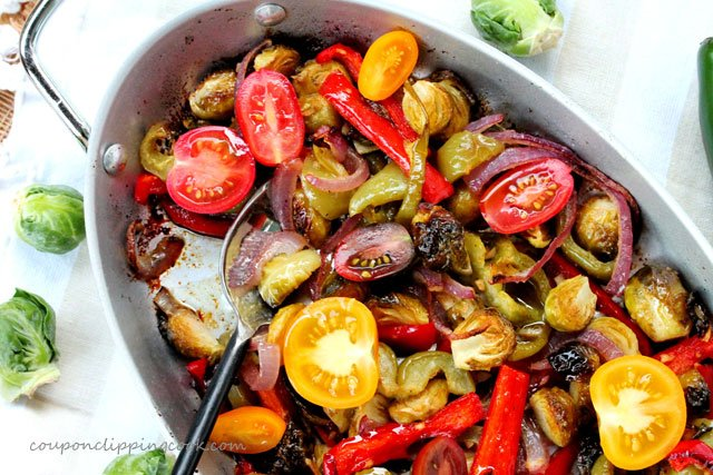 Fajitas Brussels Sprouts with Tomatoes in pan
