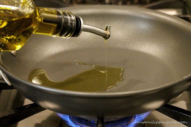 Add olive oil in skillet on stove