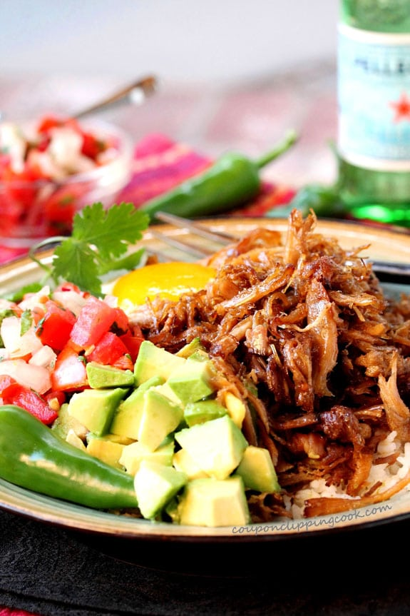 Slow Cooker Pork Carnitas Dinner on plate
