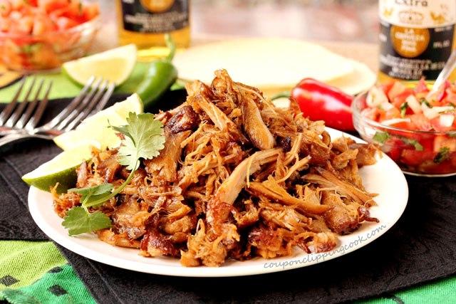 Slow Cooker Pork Carnitas on plate