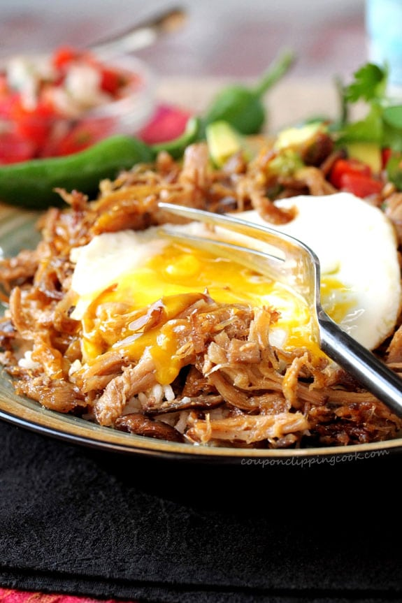 Slow Cooker Pork Carnitas with Fried Egg