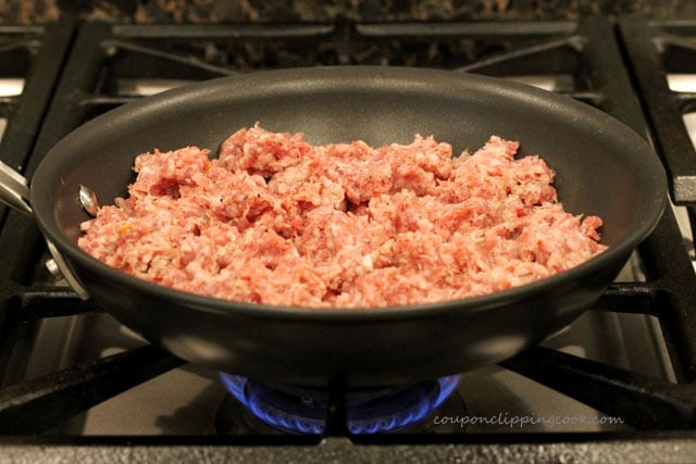 Cooking sage sausage in skillet