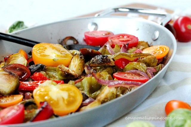 Fajita Brussels Sprouts with Tomatoes in pan