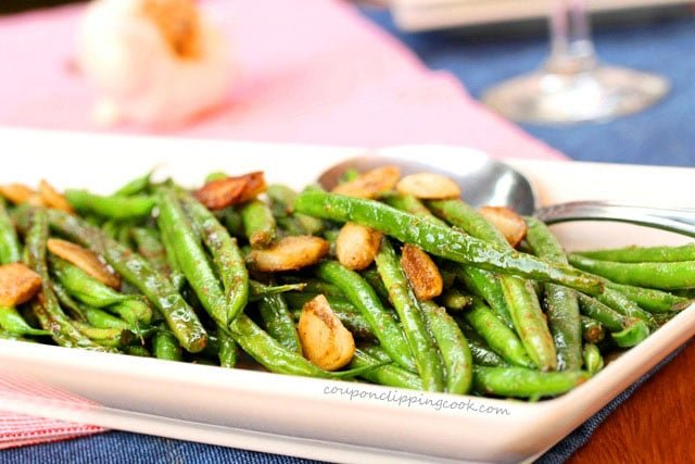 Green Beans with Garlic and Wasabi on plate