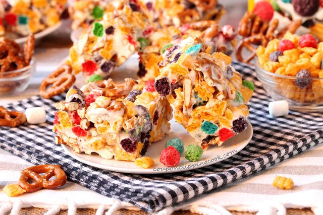 Captain Crunch and Pretzel Krispie Treats on plate