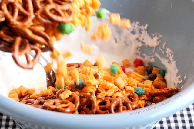 Add pretzels and cereal to marshmallows