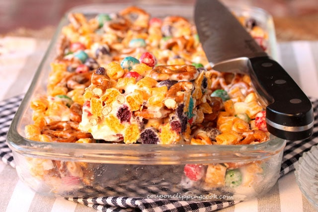Captain Crunch and Pretzel Krispies in dish
