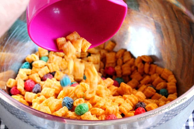 Add Captain Crunch cereal to bowl