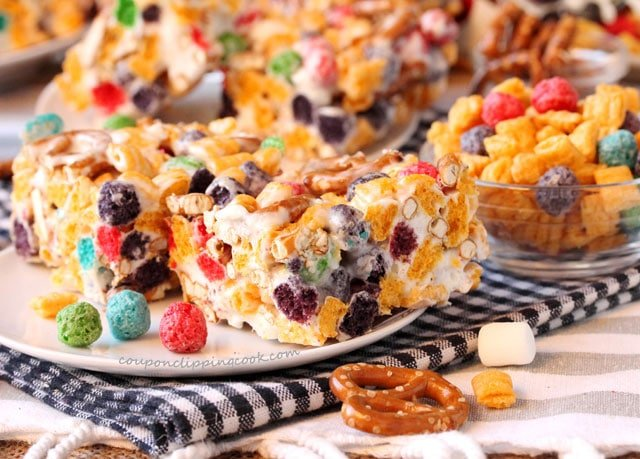 Captain Crunch and Pretzel Krispies on plate