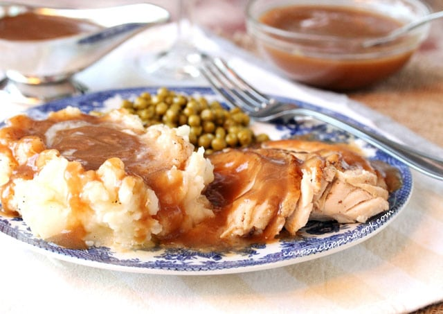 Turkey Gravy on Mashed Potatoes on plate