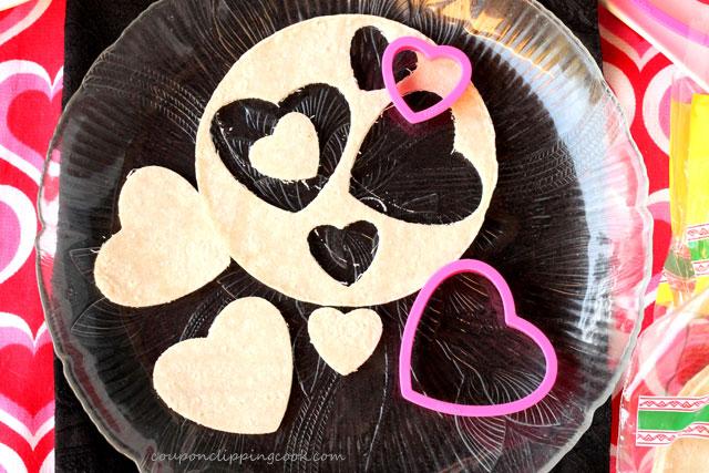 Cut Heart Shaped Tortillas on plate
