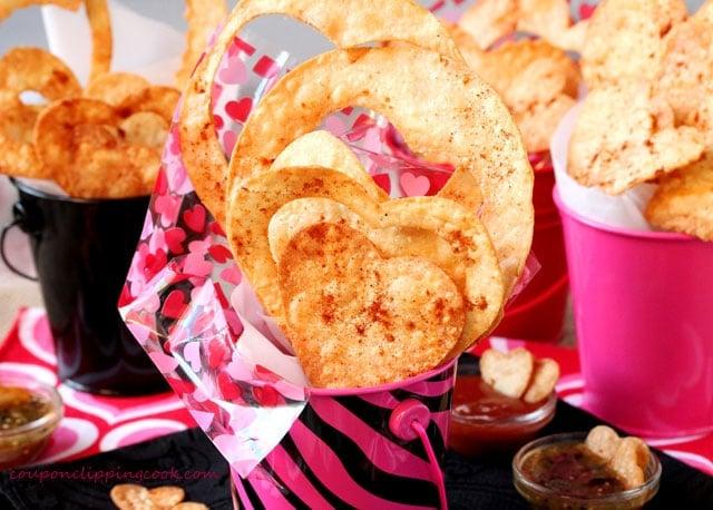 Heart Shaped Tortilla Chips in buckets