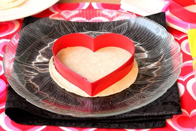 Cut Heart Shaped Tortilla on plate