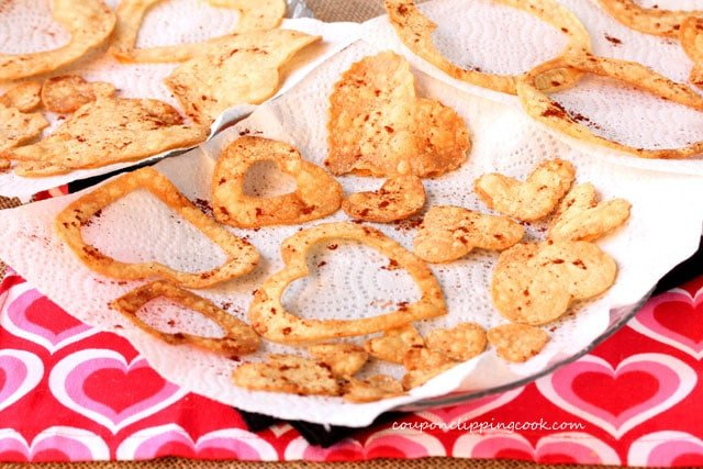 Heart Shaped Tortilla Chips on plate