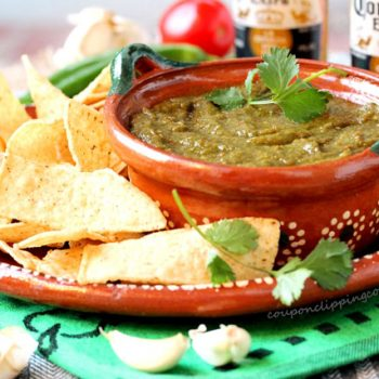 Cilantro and Garlic Salsa with Chips