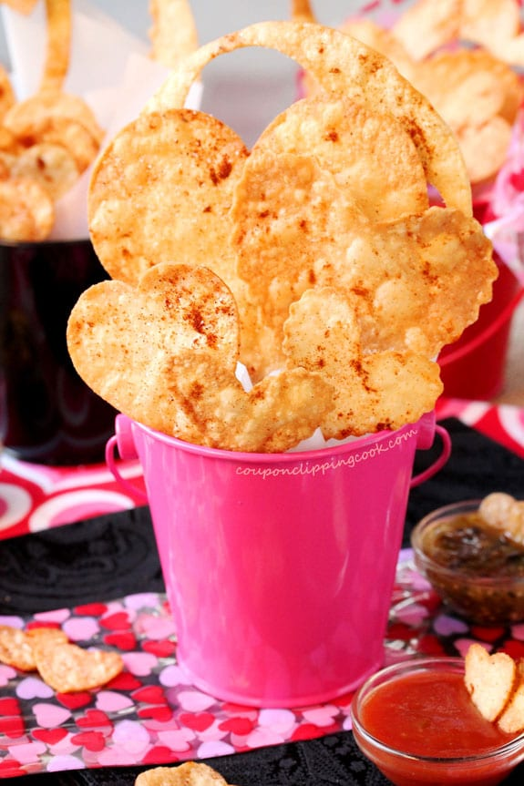 Heart Shaped Tortilla Chips in bucket