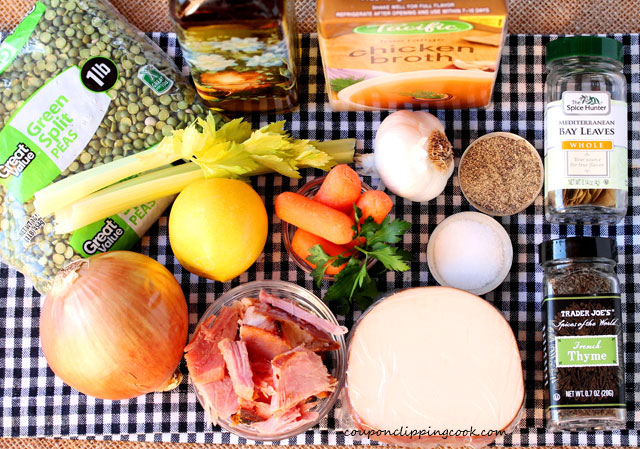 Slow Cooker Split Pea Soup ingredients