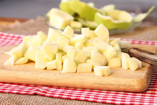 Chopped apples on cutting board