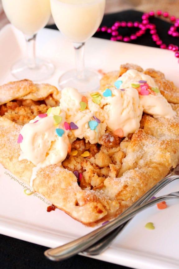 Heart Shaped Apple Pie Galette on plate