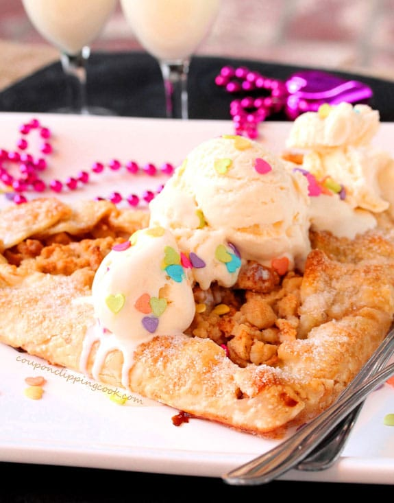 Heart Shaped Apple Pie Galette with Ice Cream