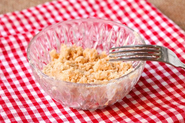 Crumbled streusel in bowl