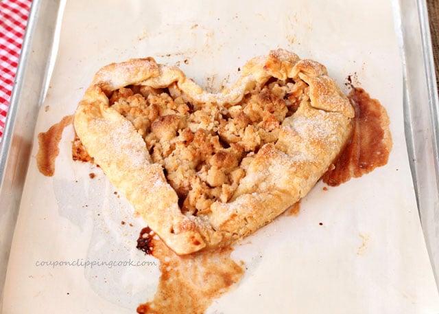 Heart Shaped Apple Pie Galette on pan