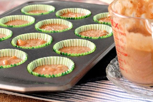 Chocolate Banana Bread Muffin batter in baking cups