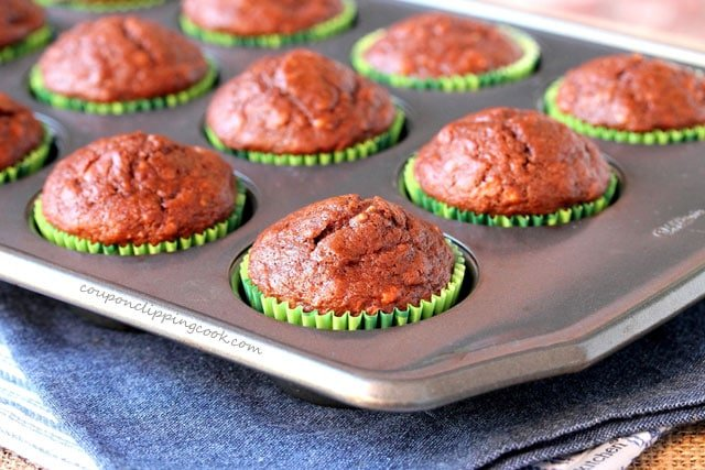 Chocolate Banana Bread Muffins in baking pan