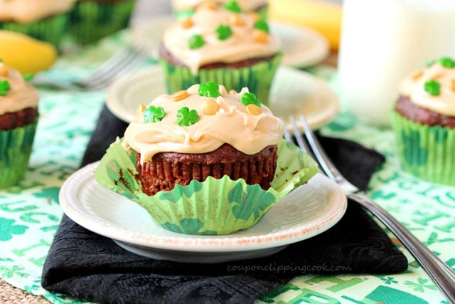 Chocolate Banana Bread Muffins with Peanut Butter Frosting on plate