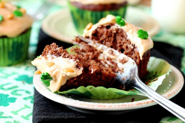 Fork in Chocolate Banana Bread Muffins with Peanut Butter Frosting