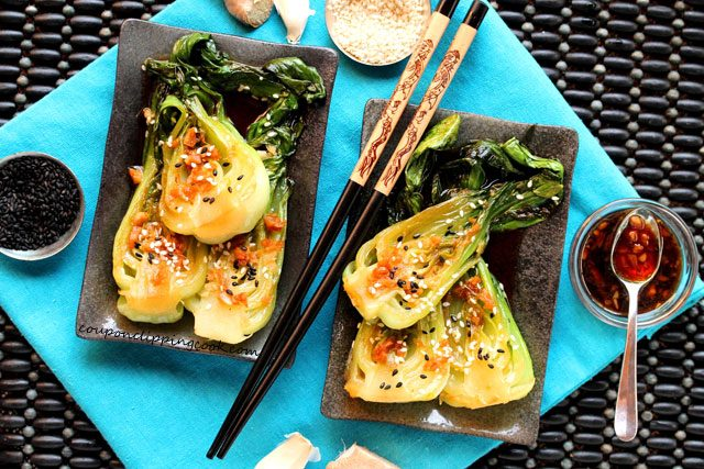 Baby Bok Choy with Garlic and Ginger on plate