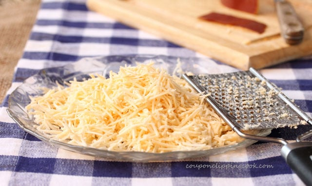 Shredded Smoked Gouda Cheese on plate