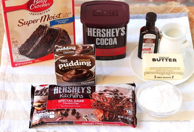 Chocolate on Chocolate Dessert ingredients