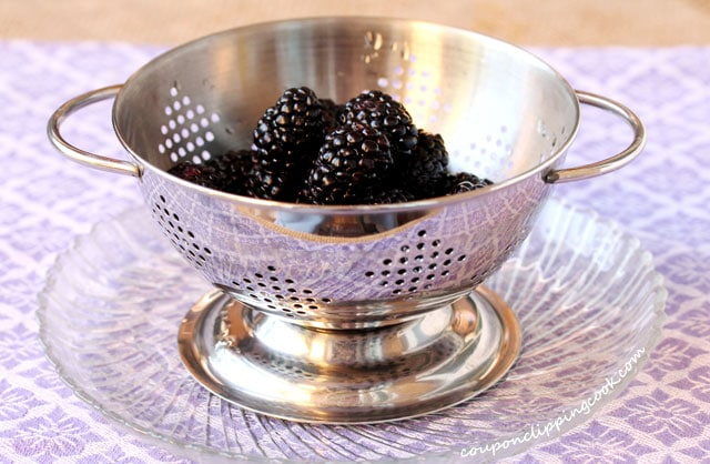 Blackberries in colander