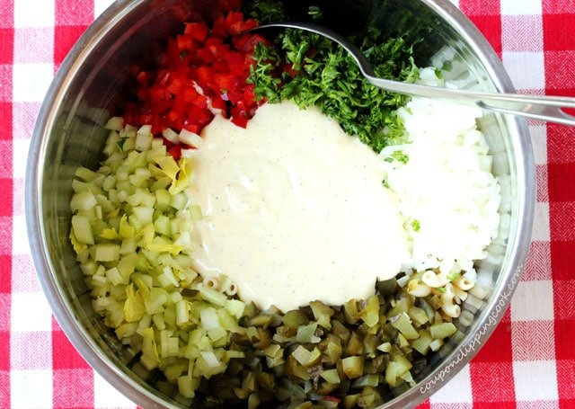 Homemade Elbow Macaroni Salad ingredients