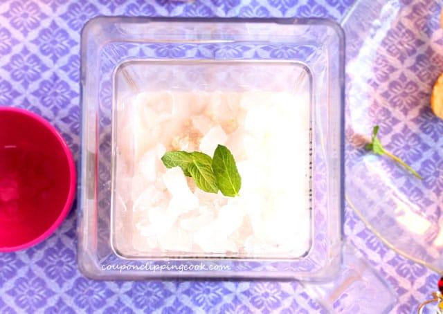 Mint leaves in blender jar