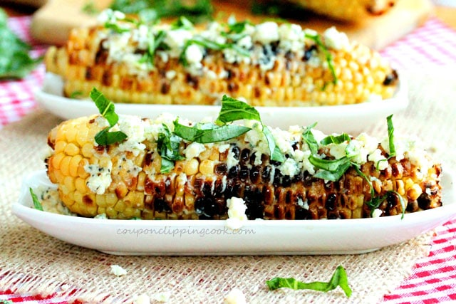 Grilled Corn Topped with Basil and Gorgonzola Cheese