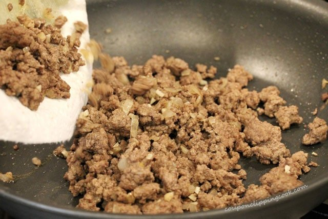 Add ground beef to pan