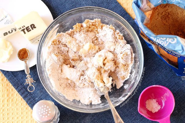 Streusel ingredients in bowl