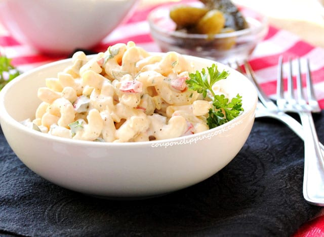Homemade Elbow Macaroni Salad in bowl