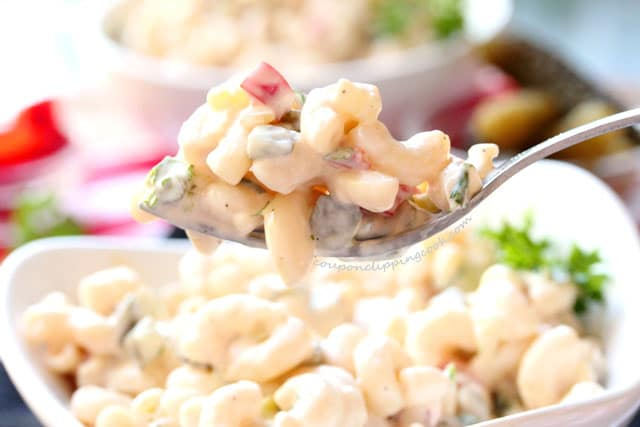 Homemade Elbow Macaroni Salad on fork