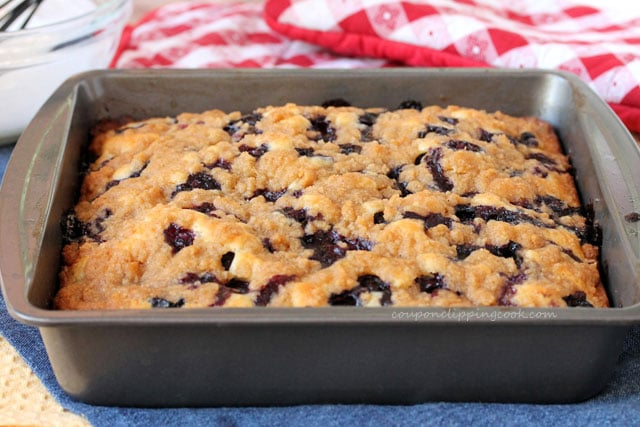 Blueberry Coffee Cake with Streusel in pan