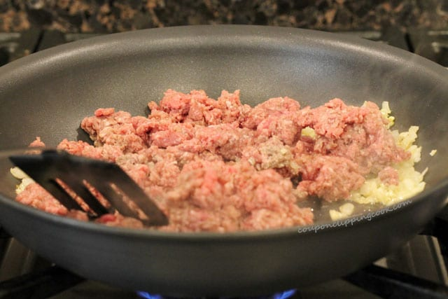 Cook ground beef in skillet