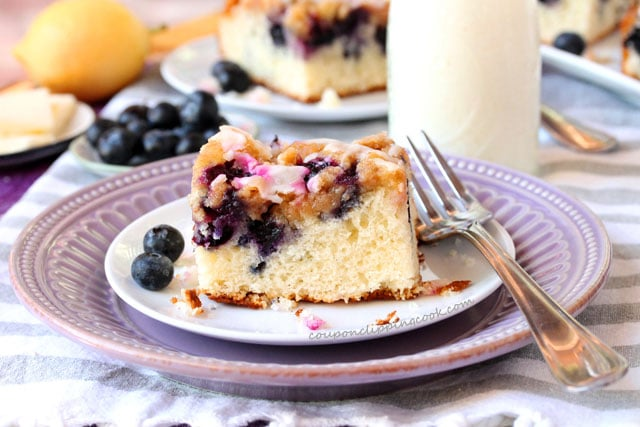 Blueberry Coffee Cake with Streusel on plate