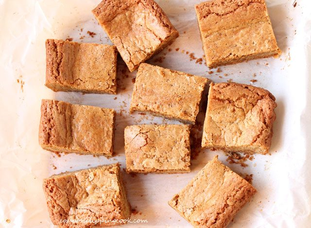Biscoff Cookie Butter Blondies on pan