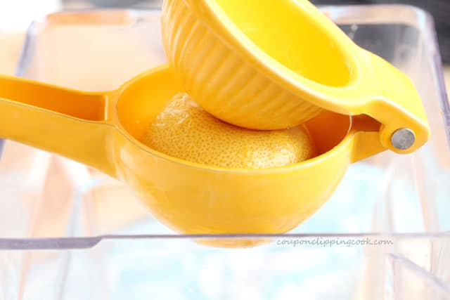 Squeeze lemon juice in blender