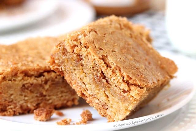 Biscoff Cookie Butter Blondies on plate