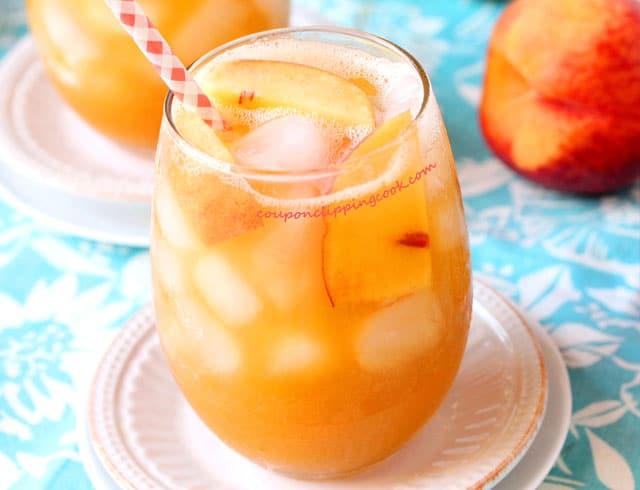 Peach and Tea Agua Fresca in glass