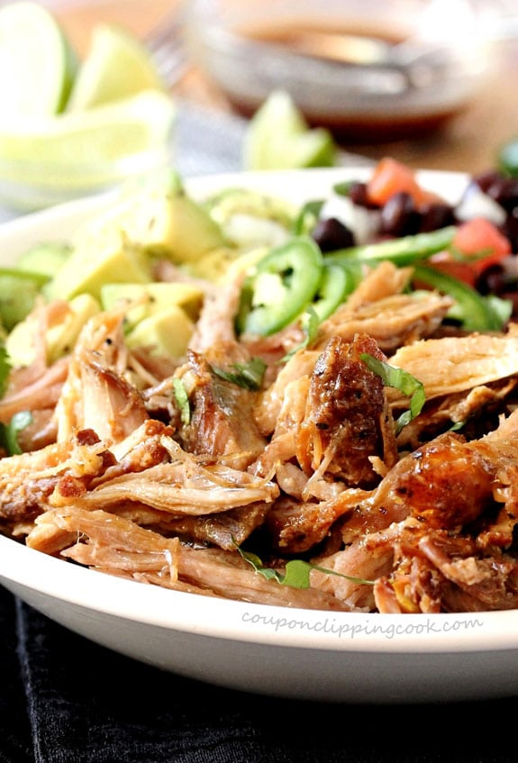 Slow Cooker Chipotle Pork on plate