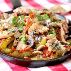 Mushrooms Pepperoni Bell Peppers in Pan